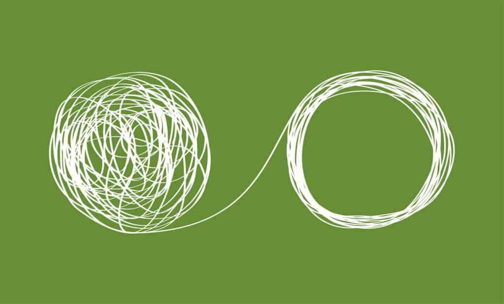 Concept icon showing the unraveling of a tangled line.